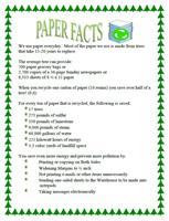 Lunchroom tabletop paper facts